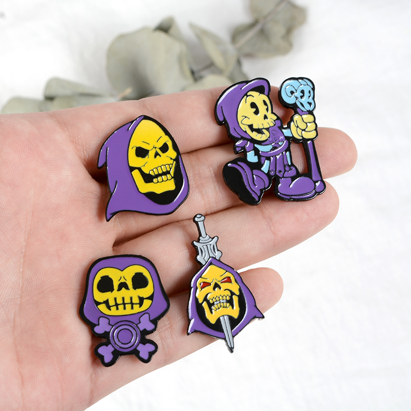 9Styles Skeletor purple hood Enamel Pin Masters of the Universe Badge Brooch Bag Clothes Lapel pin Classic Cartoon Jewelry 3