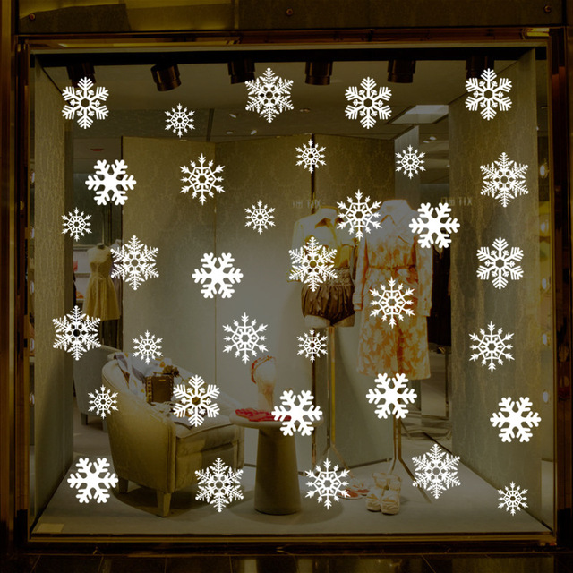 38 Pieces Snowflake Electrostatic Sticker Window Decoration for Kids Room Christmas Wall Stickers Home Decals New Year Wallpaper 4