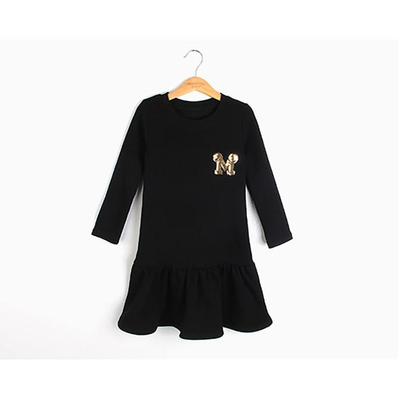 Princess Girls Dress 2017 New Fashion spring solid Children Long Sleeve Cartoon baby girl Cotton Party Dresse for girls F2-18H 2 8y new 2017 high quality girls party dress 1pc girls vest princess dress children spring autumn dress girl summer dress