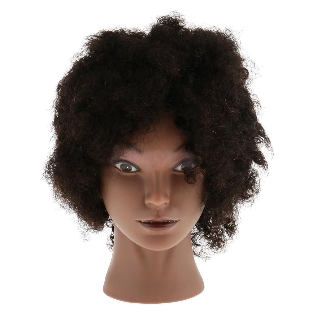 100% real human hair hairdresser cosmetology silicone practice training mannequin manikin head doll with mount hole REAL HUMAN HAIR African American Afro Silicone Cosmetology Practice Training Manikin Hairdressing Mannequin Head w/ Mount Hair
