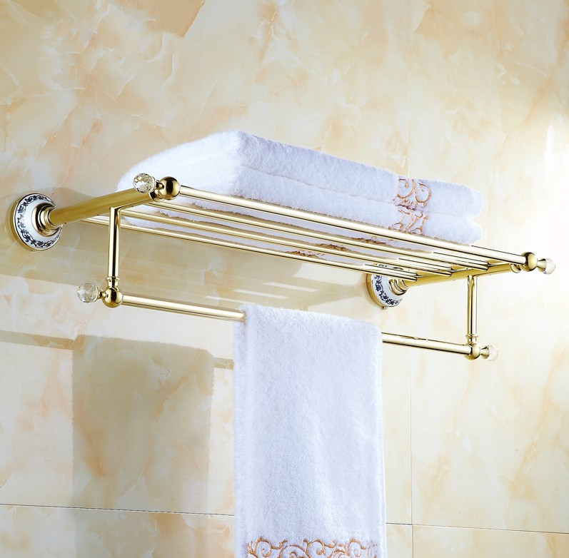 Solid Copper Luxury Crystal Gold Design Towel Rack, Modern Bathroom Accessories Towel Bars Shelf ,Ceramic Base Towel Holder
