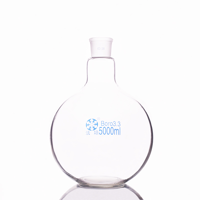 Single standard mouth flat-bottomed flask,Capacity 5000ml and joint 40/38,Single neck flat flask