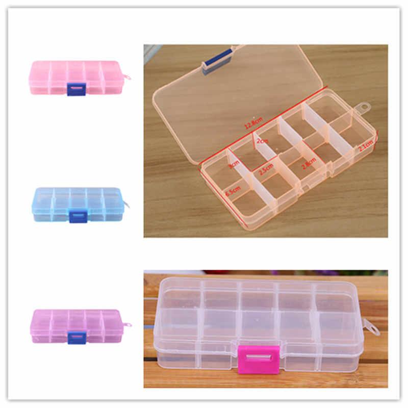 10 グリッド調整可能なジュエリービーズ丸薬ネイルアートのヒント収納ボックスケースオーガナイザー女性プラスチック化粧オーガナイザー