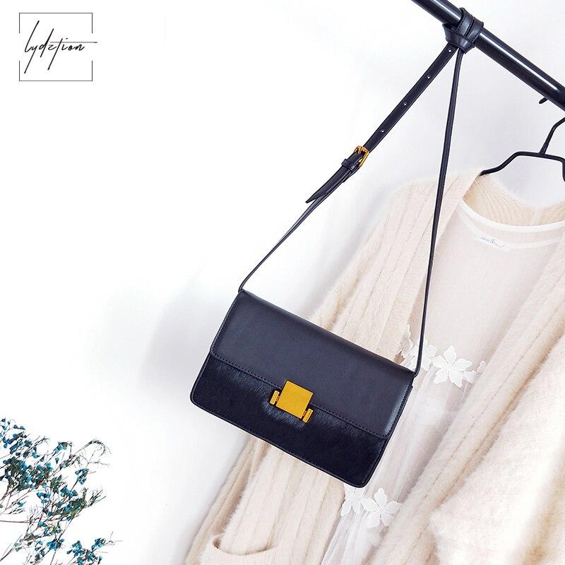 Lydztion Horse Hair Stitching Small Bag Women Winter Fashion Handbags 2018 New Cowhide Messenger Bag Lock Bag Retro Shoulder Bag
