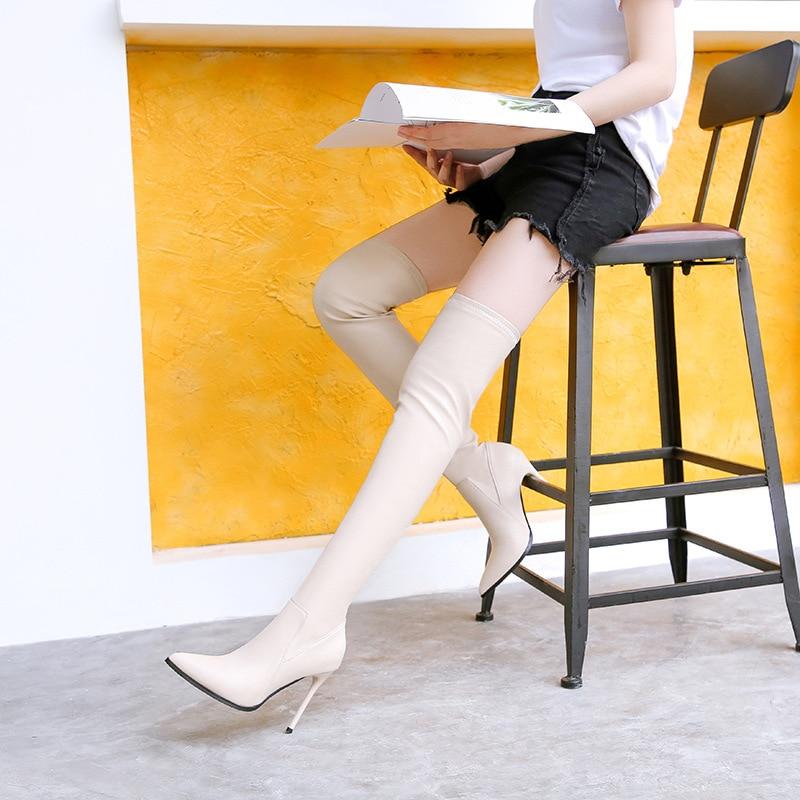 Largas Mujer 11 Beige Estados Rodilla Europa Sobre Stiletto Botas Stovepipe negro Las Elásticas De Altas Unidos Sexy Puntiagudas Cm FYFqxz4
