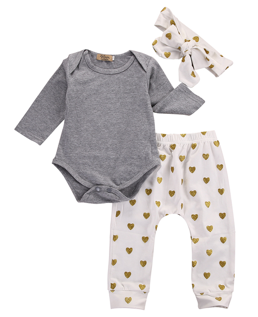 3pcs Newborn Infant Baby Girls Clothes Set Long Sleeve Gray Bodysuit Tops+Heart Pants Leggings Headband Outfit Set