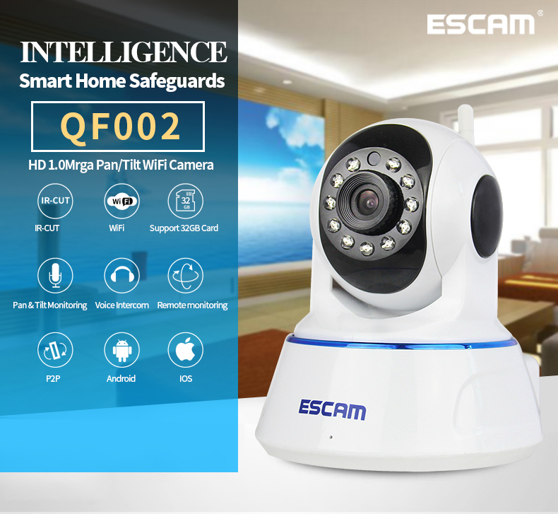 5pc Escam QF002 Mini WiFi IP Camera HD 720P CCTV security Camera System P2P IR Cut Two Way Audio Micro SD Card Slot Night vision escam ip camera onvif wifi hd p2p wireless cctv security home camera 360 degree ir cut night vision support 64g micro sd card