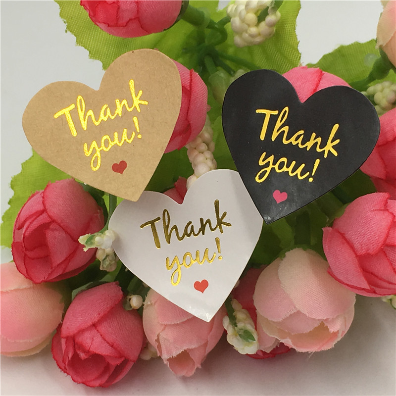 100Pcs/Lot Multiple Style Colorful Heart Shape Stickers For Gifts Stickers Scrapbooking Customized Thank You Seal Sticker Labels