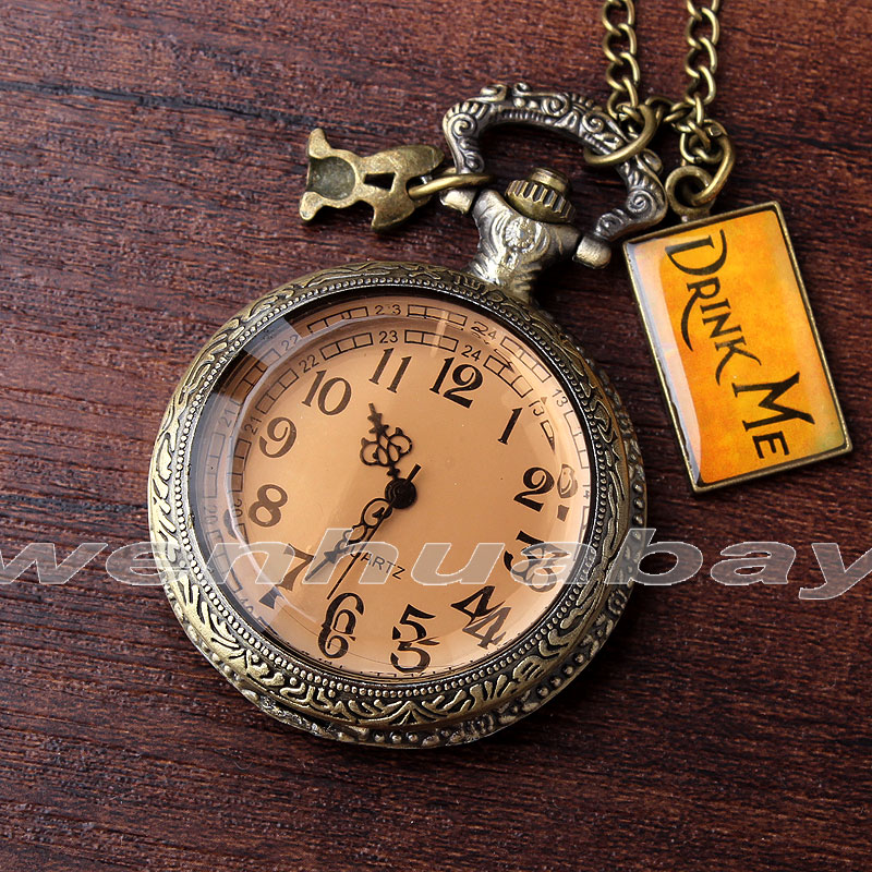 Retro Quartz Pocket Watch DRINK ME Alice in Wonderland Glass Case Long Necklace Pendant Chain Relogio De Bolso Gifts alice in wonderland drink me pocket watch necklace pendant rabbit flower key gift free shipping