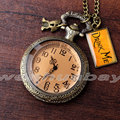 Retro Quartz Pocket Watch DRINK ME Alice in Wonderland Glass Case Long Necklace Pendant Chain Relogio De Bolso Gifts