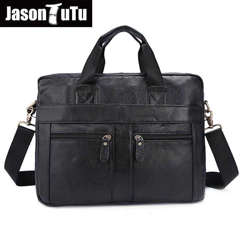 179d032fa026b JASON TUTU 100% gwarancją Prawdziwej Skóry torebki luksusowe HN128 aktówka  torba na Laptop mężczyźni messenger torby torba na ramię