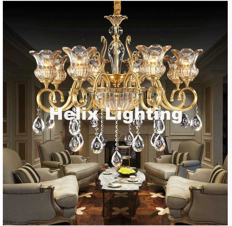 Free Shipping European Bronze Crystal Chandelier Light Fixture Brass Luxurious Crystal Lustre Lamp LED Brass Color Chandelier