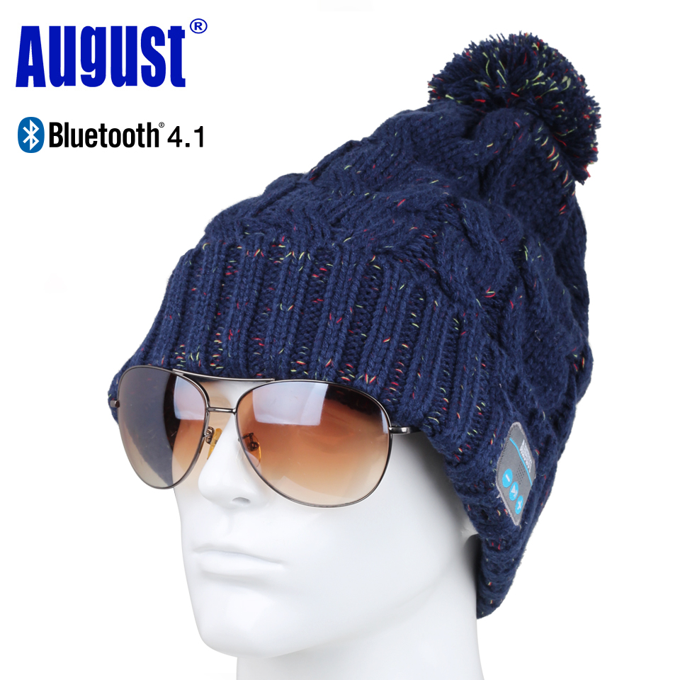 August EPA30 Bluetooth Cap Winter Knit Beanie Hat with Bluetooth Stereo Speakers, Microphone Wireless Headset for Sports unisex winter plicate baggy beanie knit crochet ski hat cap red