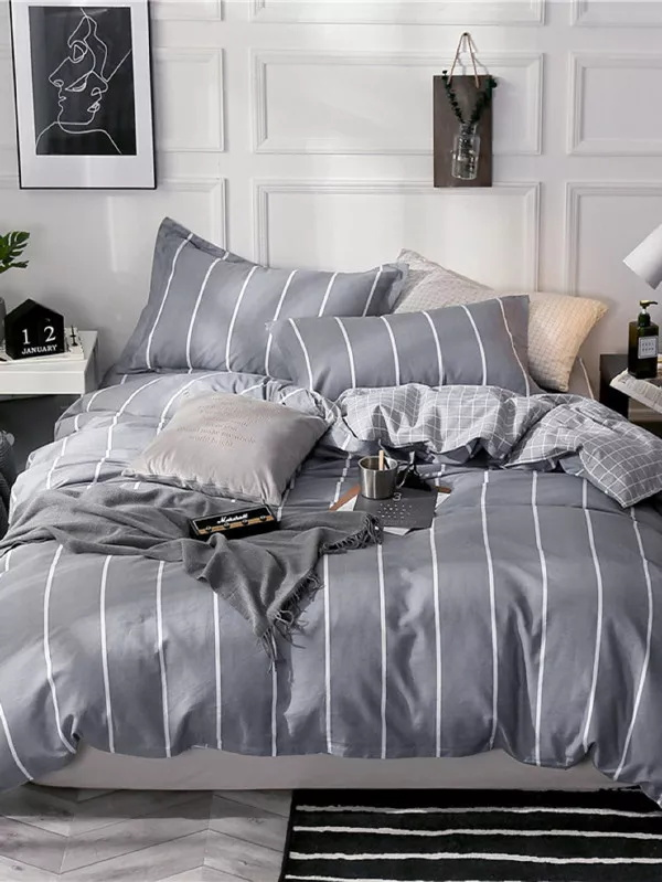 Simple Nordic geometric stripes pattern grey bedding duvet cover set + pillow caseSimple Nordic geometric stripes pattern grey bedding duvet cover set + pillow case