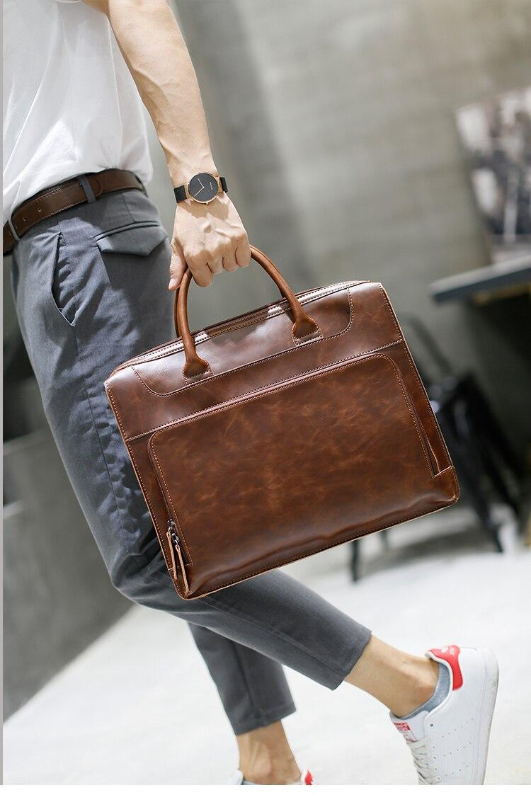 HTB1yF7ukp9gSKJjSspbq6zeNXXah Brand Men's Briefcase Handbag Crazy Horse Pu Leather Messenger Travel Bag Business Men Tote Bags Man Casual Crossbody Briefcases