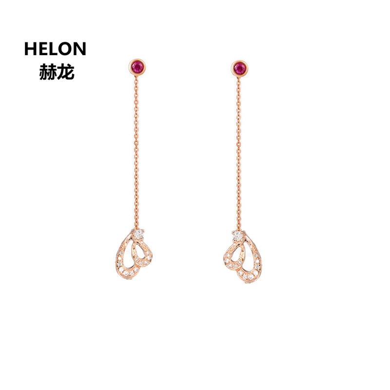 Solid 18k Rose Gold Natural Diamonds Drop Earrings for Women Anniversary Engagement Wedding Ruby Earrings solid 18k rose gold natural diamonds stud earrings for women party engagement wedding anniversary fine jewelry earrings trendy