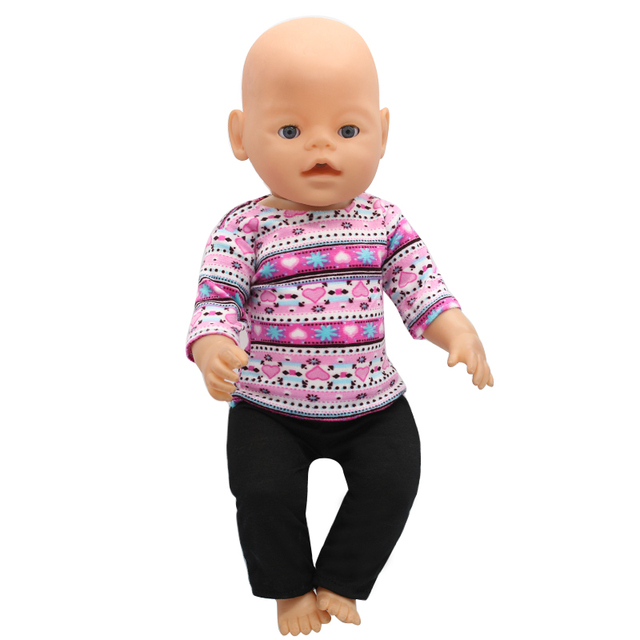 Baby Doll Clothes Purple Sweater + Black Pants Suit Fit 43cm Baby Doll  Accessories Girl Birthday 3f94433e684f