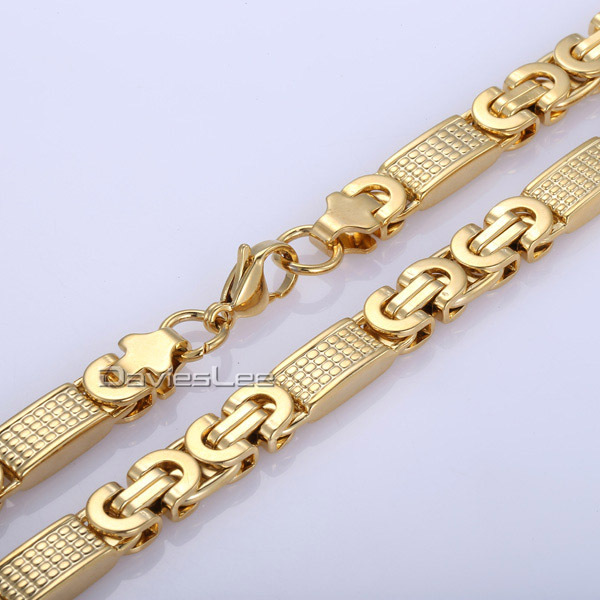 183694507844 Fashion Gift 8mm Mens Chain Boys Necklace Gold Tone Flat Byzantine Link  Stainless Steel Necklace Bracelet 18 36inch DLKN275-in Chain Necklaces from  Jewelry ...