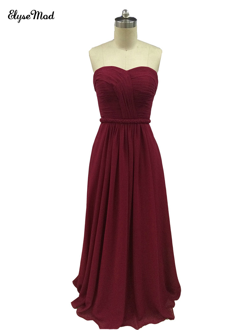 Top Sale A-Line Sweetheart Pleated   Bridesmaid     Dresses   Chffon Long Burgundy Party Gowns Lace up Back