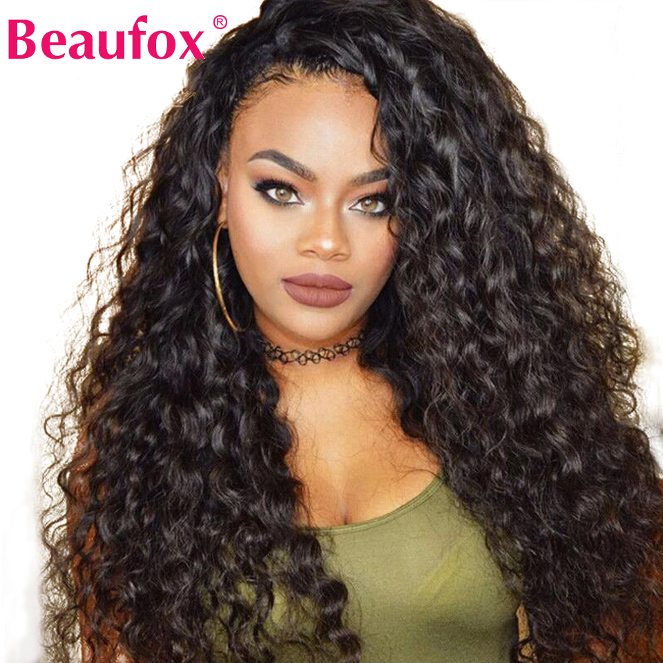 Brazilian Water Wave Lace Front Human Hair Wigs Front Lace Wigs With Baby Hair Pre Plucked Natural Hairline 150% Beaufox Remy(China)