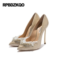 Ladies Super Metal Gold High Heels Pointed Toe 12cm 5 Inch 11 43 Pumps Size 33