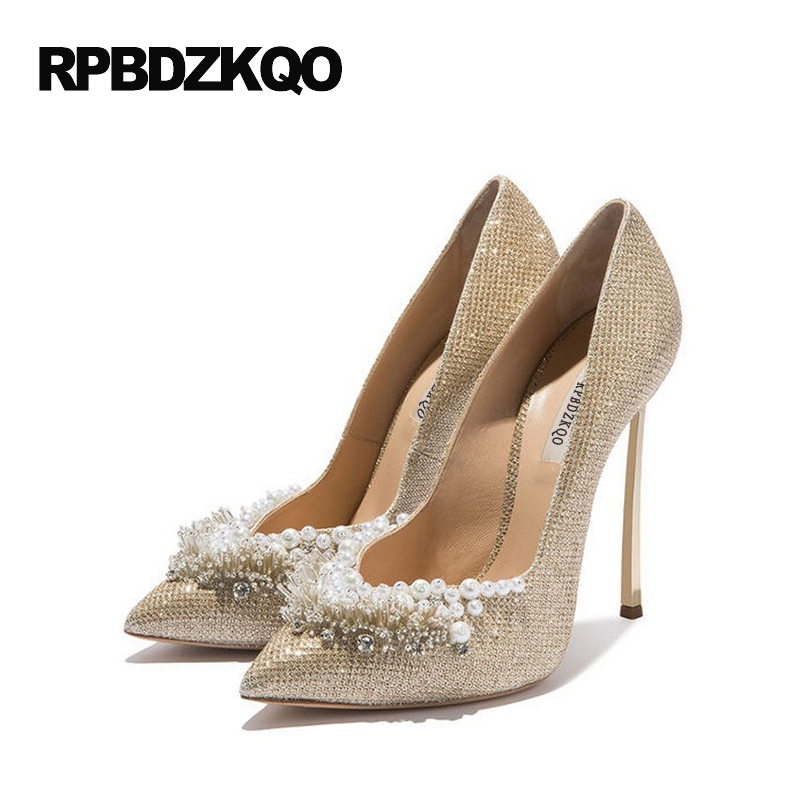 Ladies Super Metal Gold High Heels Pointed Toe 12cm 5 Inch 11 43 Pumps Size 33 Stiletto Pearl Wedding 10 42 Ivory Bridal Shoes 4 34 small size gold shoes wedding pointed toe 7cm 3 inch satin high heels stiletto 33 flower pumps ladies colourful embroidery