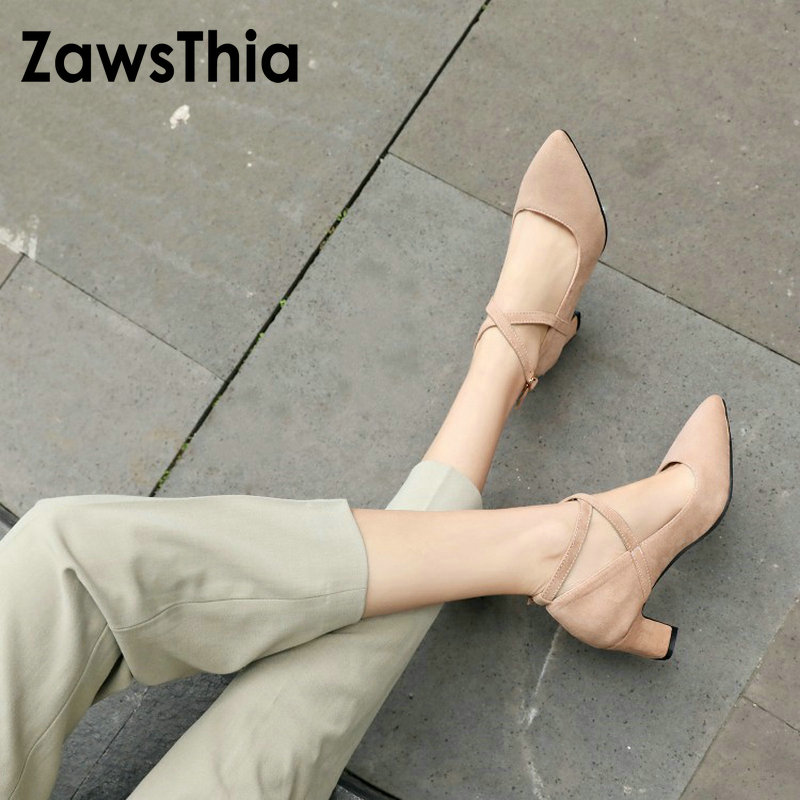 ZawsThia 2019 spring summer new pointed toe sexy woman mary janes shoes cross strap ladies high heels women pumps size 33-48ZawsThia 2019 spring summer new pointed toe sexy woman mary janes shoes cross strap ladies high heels women pumps size 33-48