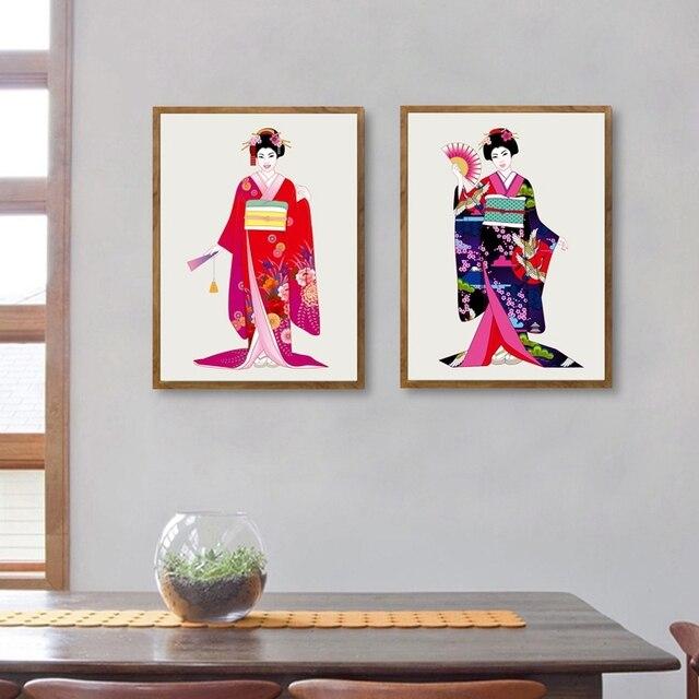 Beautiful Japanese Girls In Kimono Canvas Art Print Poster
