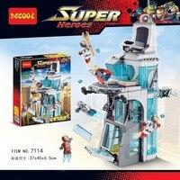 Decool 7114 511pcs Marvel Superheroes Iron Man Base Attack Avengers Tower Building Blocks Bricks Toys Pogo for lego 76038 lepin