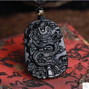 Drop Shipping Fine carving Chinese natural black A obsidian carved dragon black jade pendant