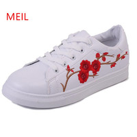 Shoes Women Designer Casual White Shoes Sapatos Mulher Sneakers Embroider Creepers Zapatos Muje Platform Flats Ladies Shoes