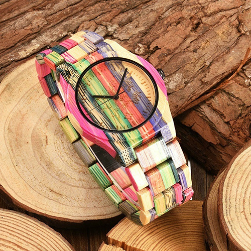 Men's Full Painted Bamboo Wood Strap Analog Movement Quartz Casual Wrist Watch стоимость