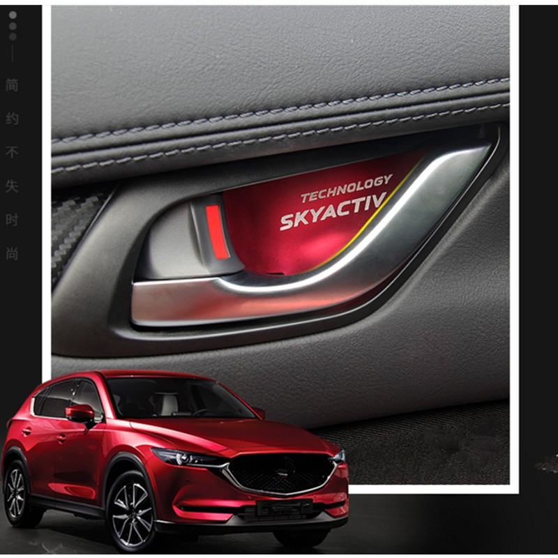 car sticker Aluminum Alloy interior door handle wrist bowl cup trim 4pcs For <font><b>Mazda</b></font> CX-5 2017 <font><b>2018</b></font> CX-4 <font><b>Mazda</b></font> <font><b>3</b></font> Axela <font><b>accessories</b></font> image