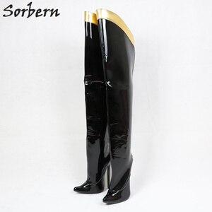 Image 2 - Sorbern 18Cm Stiletto Over The Knee Boots For Women Custom Leg Calf Size Hard Shaft Gold Ribbon Trim Mid Thigh Boot Patent Black