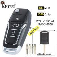KEYECU 433MHz ID40 칩 2 버튼 Opel Corsa C Meriva A Tigra B 트윈 탑 5WK48668 용 접이식 리모컨 키 Fob 업그레이드