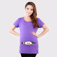 Maternity Funny Baby Peeking Out T Shirts Black Red Pregnant Women Tops Tees 100% Cotton Clothes Pregnancy Wear Clothing