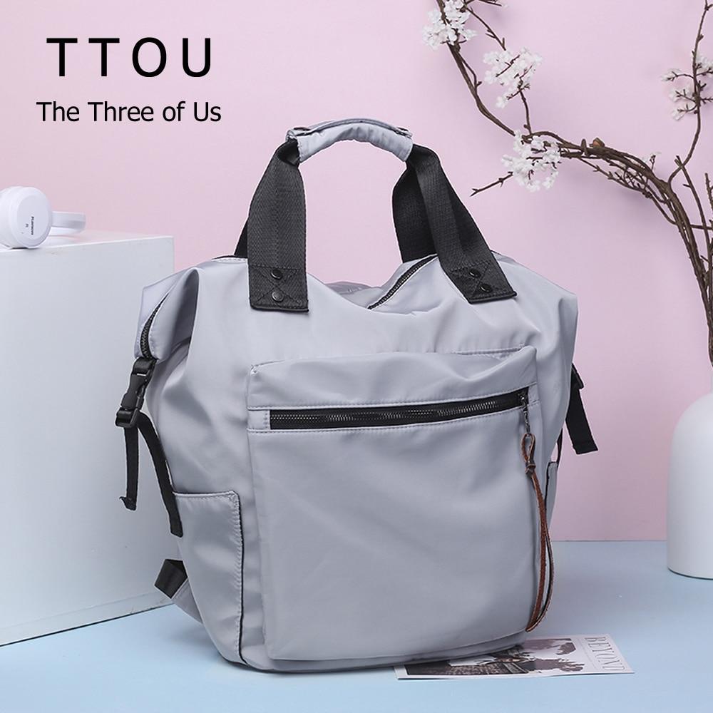 TTOU Nylon Backpack Women Casual Backpacks Ladies High Capacity Back To School Bag Teenage Girls Travel Students Waterproof