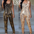 2016 Women Sexy Gold Geometric Sequins Jumpsuit Skinny Sleeveless O Neck Full Length Sequined Playsuit Pants vestidos