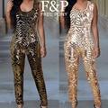 2016 mujeres sexy oro geométrica lentejuelas jumpsuit playsuit pantalones flaco sin mangas o cuello encuadre de cuerpo entero de lentejuelas vestidos