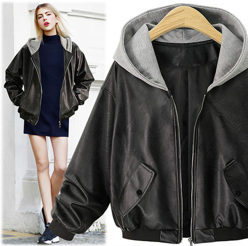 Ladies   Leather   Jackets Fashion Autumn Winter Causal Loose Pu Coats Women Plus Size Black Outwear Motorcycle Woman Hooded Jacket