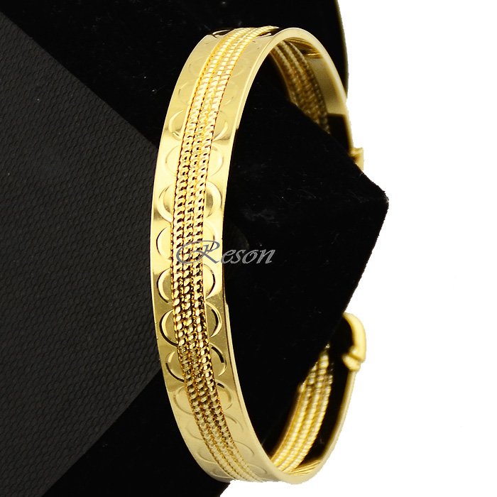 18K Yellow Gold Filled Open Women Bangle 65mm Twist Bracelet cuff Charms Jewelry