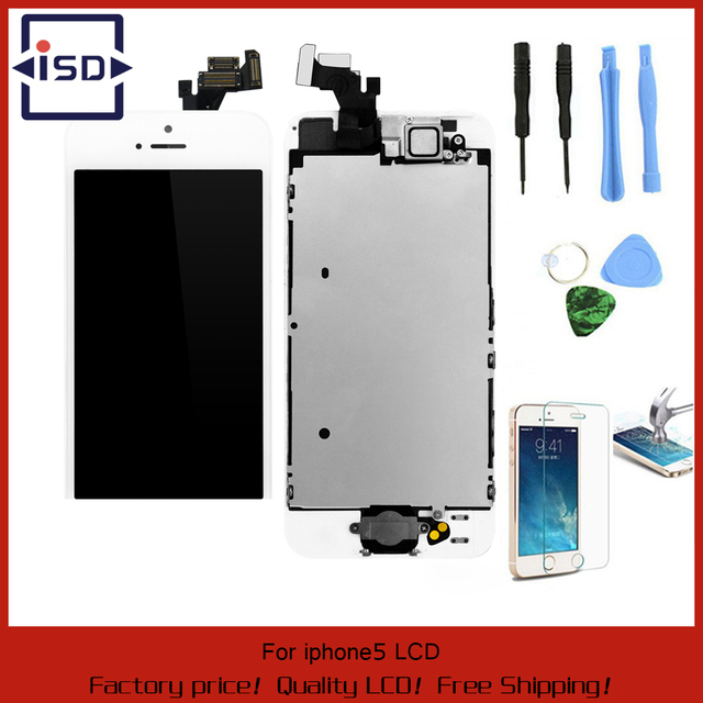 White Full Front Touch Screen Digitizer LCD Display Repair Assembly Replacement for iPhone 5 LCD Display +Tempered glass+Tools