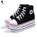 Fashion Casual Height increasing Women Shoes Canvas Strap Shoe Striped Heightened Solid Unisex Leisure Black Spring Autumn Shoes