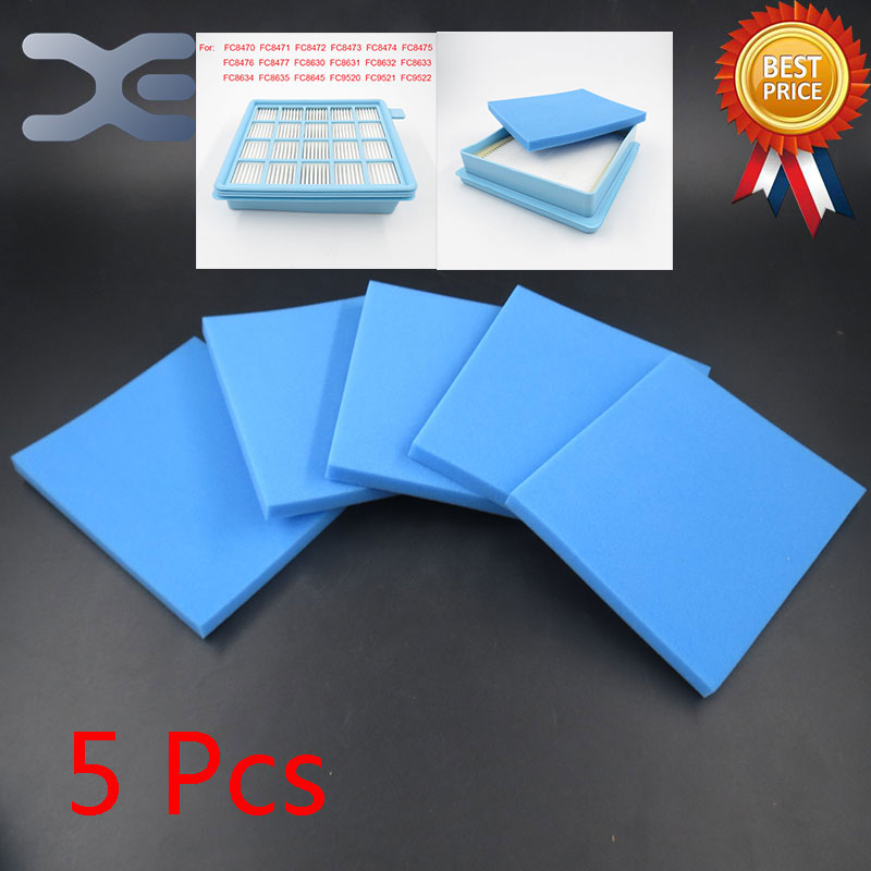 5Pcs Vacuum Cleaner Filters Hepa Sponge For Philips Vacuum Cleaner FC8470 FC8471 FC8472 FC8473 FC8474 FC8476 FC8477 FC8630 philips fc 8472 01