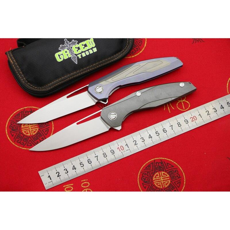 Зеленый шип Флиппер F111 3D M390 лезвие Титан ручка Флиппер Складной нож Открытый Отдых на природе Охота Карманный фруктовых ножей EDC инструмент