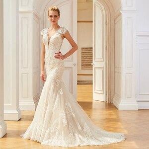 Image 2 - Dressv aplikacje elegancka suknia ślubna z dekoltem w szpic syrenka długość rękawy cap bridal outdoor & church suknie ślubne typu trąbka