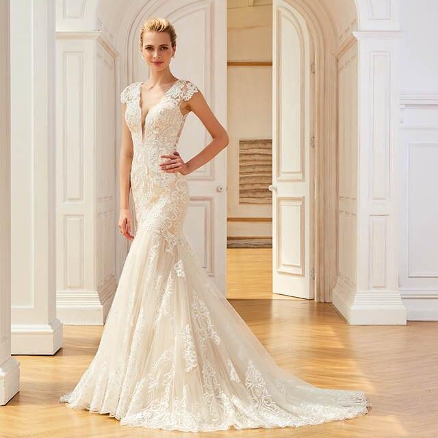 c8e5e106fe159 Online Shop Dressv appliques elegant v neck wedding dress mermaid floor  length cap sleeves bridal outdoor&church trumpet wedding dresses |  Aliexpress Mobile