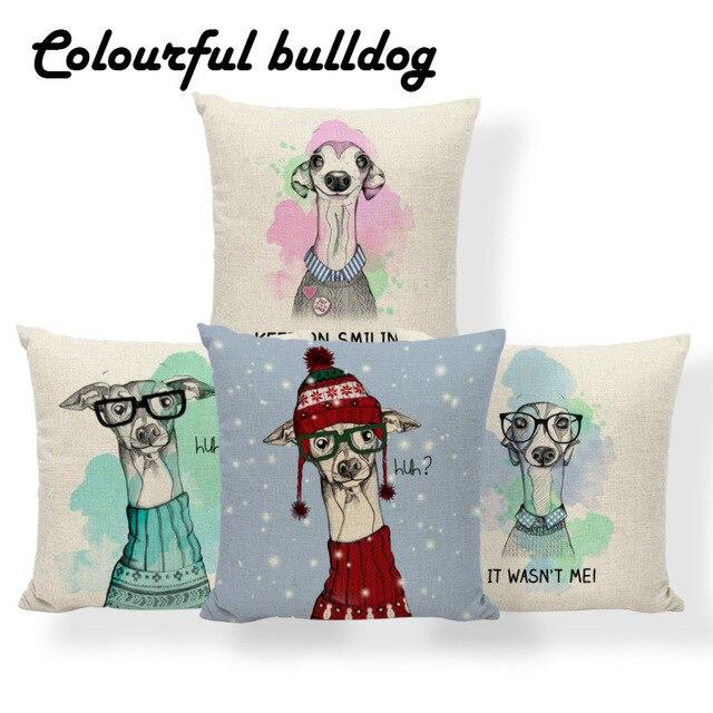 Dipinto A mano Cuscino di Inverno Neve Animale Greyhound Signora Signore Copertu