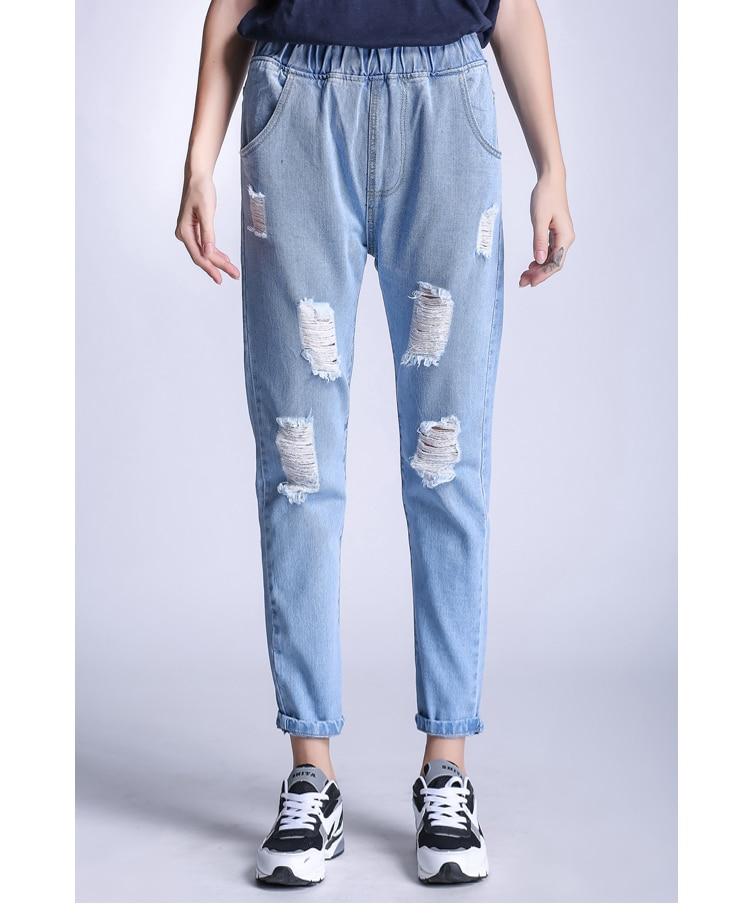 Markowe jeansy damskie spodnie jeansowe na co dzień spodnie w pasie - Ubrania Damskie - Zdjęcie 4