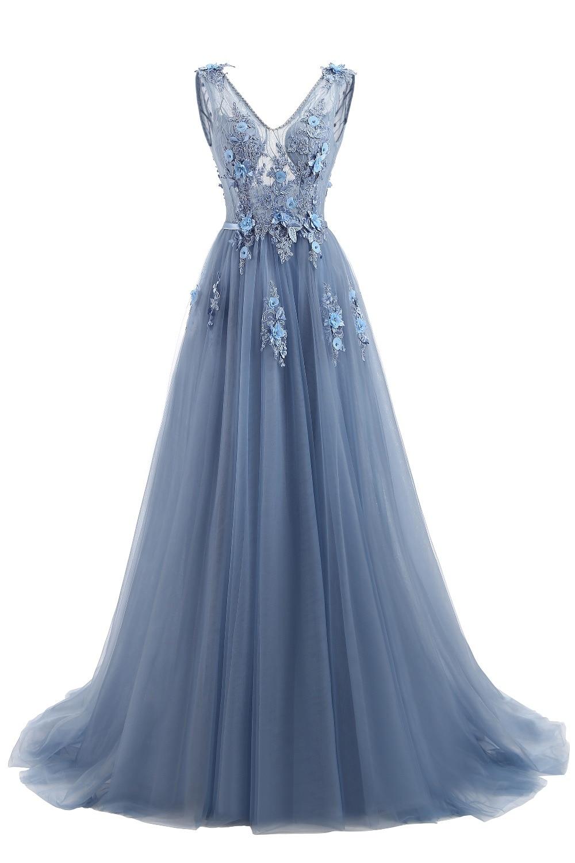 081Elie Saab Blue Evening Dresses 2019 Plus Size Tulle Appliques Long Formal Dresses Gowns V Neck Lace Up Sleeveless Robe De Soiree